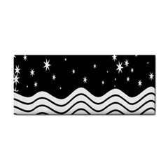 Black And White Waves And Stars Abstract Backdrop Clipart Cosmetic Storage Cases