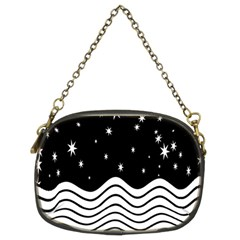 Black And White Waves And Stars Abstract Backdrop Clipart Chain Purses (two Sides)