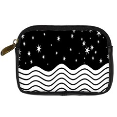 Black And White Waves And Stars Abstract Backdrop Clipart Digital Camera Cases