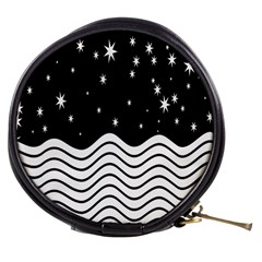 Black And White Waves And Stars Abstract Backdrop Clipart Mini Makeup Bags