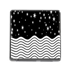 Black And White Waves And Stars Abstract Backdrop Clipart Memory Card Reader (Square)