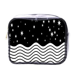 Black And White Waves And Stars Abstract Backdrop Clipart Mini Toiletries Bags