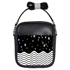Black And White Waves And Stars Abstract Backdrop Clipart Girls Sling Bags