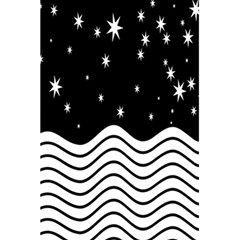 Black And White Waves And Stars Abstract Backdrop Clipart 5.5  x 8.5  Notebooks