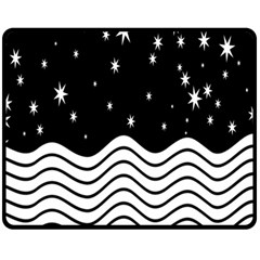 Black And White Waves And Stars Abstract Backdrop Clipart Fleece Blanket (Medium)