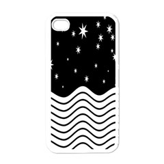 Black And White Waves And Stars Abstract Backdrop Clipart Apple Iphone 4 Case (white)
