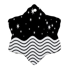 Black And White Waves And Stars Abstract Backdrop Clipart Ornament (Snowflake)