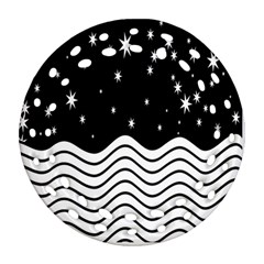 Black And White Waves And Stars Abstract Backdrop Clipart Round Filigree Ornament (Two Sides)