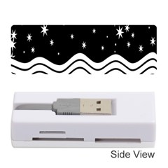 Black And White Waves And Stars Abstract Backdrop Clipart Memory Card Reader (stick)