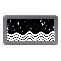 Black And White Waves And Stars Abstract Backdrop Clipart Memory Card Reader (Mini)
