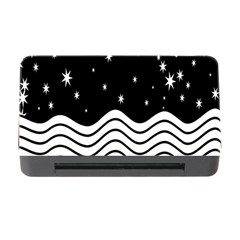 Black And White Waves And Stars Abstract Backdrop Clipart Memory Card Reader with CF