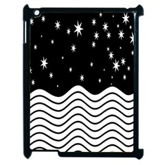 Black And White Waves And Stars Abstract Backdrop Clipart Apple Ipad 2 Case (black)