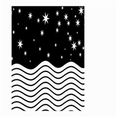 Black And White Waves And Stars Abstract Backdrop Clipart Small Garden Flag (two Sides)