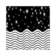 Black And White Waves And Stars Abstract Backdrop Clipart Acrylic Tangram Puzzle (6  X 6 )
