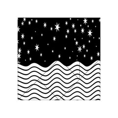 Black And White Waves And Stars Abstract Backdrop Clipart Acrylic Tangram Puzzle (4  x 4 )