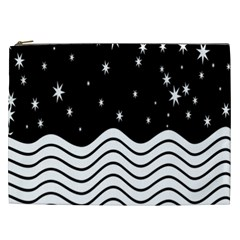 Black And White Waves And Stars Abstract Backdrop Clipart Cosmetic Bag (xxl)