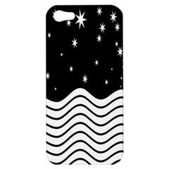 Black And White Waves And Stars Abstract Backdrop Clipart Apple Iphone 5 Hardshell Case