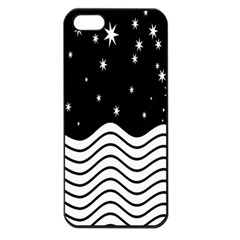 Black And White Waves And Stars Abstract Backdrop Clipart Apple iPhone 5 Seamless Case (Black)