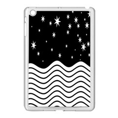 Black And White Waves And Stars Abstract Backdrop Clipart Apple Ipad Mini Case (white)