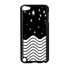Black And White Waves And Stars Abstract Backdrop Clipart Apple iPod Touch 5 Case (Black)