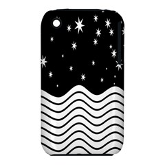Black And White Waves And Stars Abstract Backdrop Clipart Iphone 3s/3gs