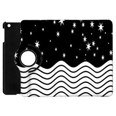 Black And White Waves And Stars Abstract Backdrop Clipart Apple iPad Mini Flip 360 Case