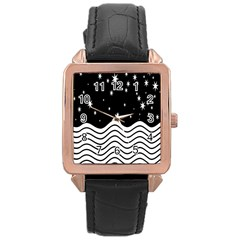 Black And White Waves And Stars Abstract Backdrop Clipart Rose Gold Leather Watch