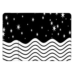 Black And White Waves And Stars Abstract Backdrop Clipart Samsung Galaxy Tab 8.9  P7300 Flip Case