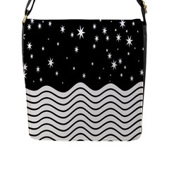 Black And White Waves And Stars Abstract Backdrop Clipart Flap Messenger Bag (l)