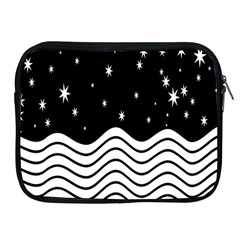 Black And White Waves And Stars Abstract Backdrop Clipart Apple Ipad 2/3/4 Zipper Cases