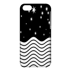 Black And White Waves And Stars Abstract Backdrop Clipart Apple Iphone 5c Hardshell Case