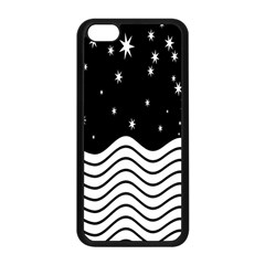 Black And White Waves And Stars Abstract Backdrop Clipart Apple Iphone 5c Seamless Case (black)