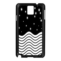 Black And White Waves And Stars Abstract Backdrop Clipart Samsung Galaxy Note 3 N9005 Case (black)