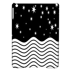 Black And White Waves And Stars Abstract Backdrop Clipart iPad Air Hardshell Cases
