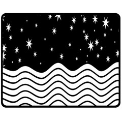 Black And White Waves And Stars Abstract Backdrop Clipart Double Sided Fleece Blanket (medium)
