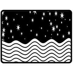 Black And White Waves And Stars Abstract Backdrop Clipart Double Sided Fleece Blanket (Large)