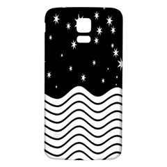 Black And White Waves And Stars Abstract Backdrop Clipart Samsung Galaxy S5 Back Case (white)