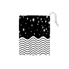 Black And White Waves And Stars Abstract Backdrop Clipart Drawstring Pouches (small)