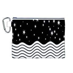 Black And White Waves And Stars Abstract Backdrop Clipart Canvas Cosmetic Bag (l)