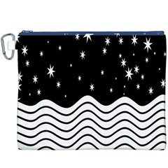 Black And White Waves And Stars Abstract Backdrop Clipart Canvas Cosmetic Bag (XXXL)