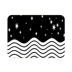 Black And White Waves And Stars Abstract Backdrop Clipart Double Sided Flano Blanket (Mini)