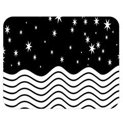Black And White Waves And Stars Abstract Backdrop Clipart Double Sided Flano Blanket (Medium)