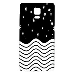 Black And White Waves And Stars Abstract Backdrop Clipart Galaxy Note 4 Back Case