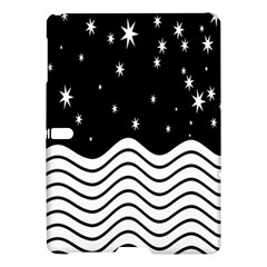 Black And White Waves And Stars Abstract Backdrop Clipart Samsung Galaxy Tab S (10 5 ) Hardshell Case