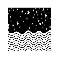 Black And White Waves And Stars Abstract Backdrop Clipart Small Satin Scarf (square)