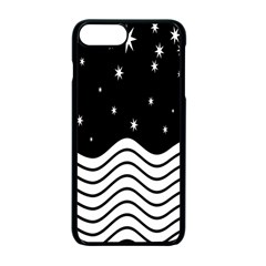 Black And White Waves And Stars Abstract Backdrop Clipart Apple Iphone 7 Plus Seamless Case (black)