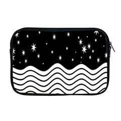 Black And White Waves And Stars Abstract Backdrop Clipart Apple Macbook Pro 17  Zipper Case