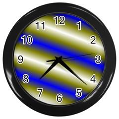 Color Diagonal Gradient Stripes Wall Clocks (black)