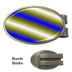 Color Diagonal Gradient Stripes Money Clips (Oval)