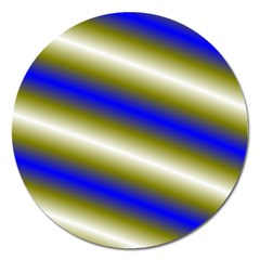 Color Diagonal Gradient Stripes Magnet 5  (Round)